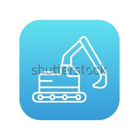Kotrógép vonal ikon háló mobil infografika Stock fotó © RAStudio