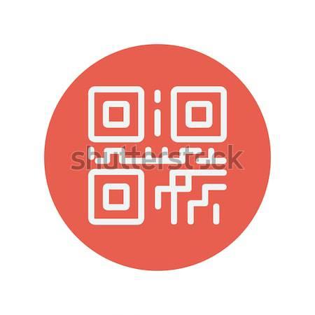 Qr code line ikona internetowych komórkowych infografiki Zdjęcia stock © RAStudio