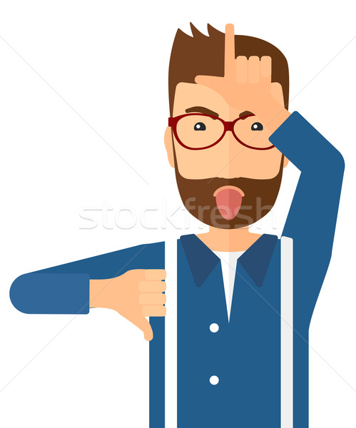 Contemptuous man sticking out his tongue. Stock photo © RAStudio