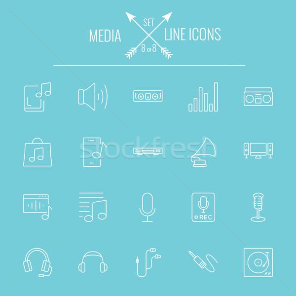 Media vector witte icon geïsoleerd Stockfoto © RAStudio