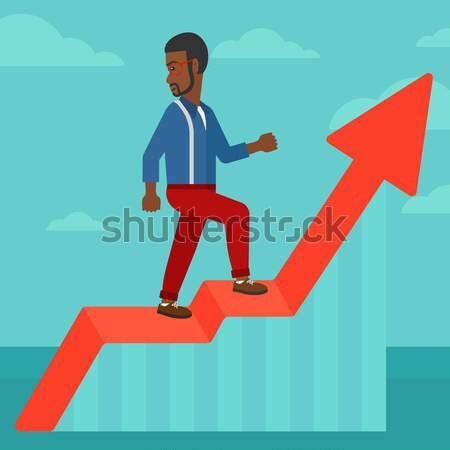 Man standing on uprising chart. Stock photo © RAStudio