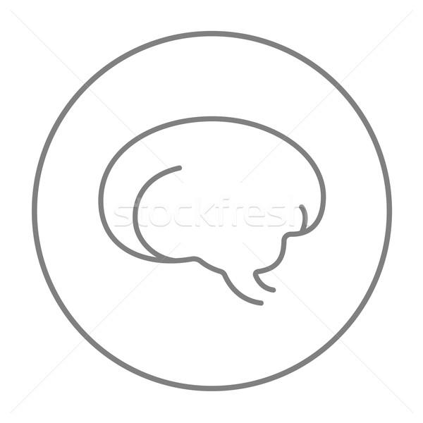 Mózgu line ikona internetowych komórkowych infografiki Zdjęcia stock © RAStudio