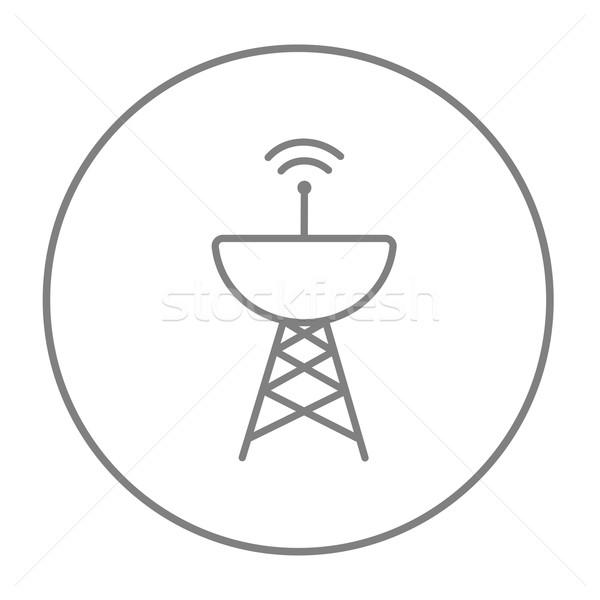 Radar parabolaantenna vonal ikon háló mobil Stock fotó © RAStudio