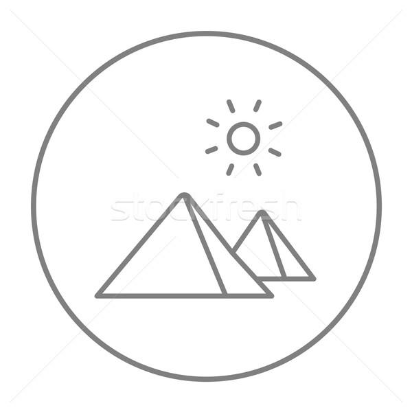 Сток-фото: египетский · пирамидами · линия · икона · веб · мобильных