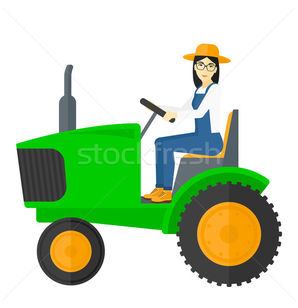 Agriculteur conduite tracteur asian vecteur design Photo stock © RAStudio