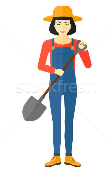Landbouwer spade asian vector ontwerp Stockfoto © RAStudio