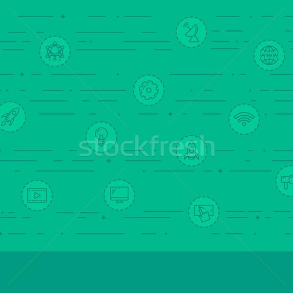 Foto stock: Negócio · ícones · verde · tecnologia · vetor · projeto