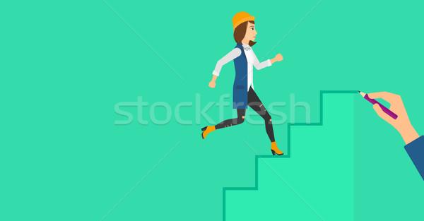 Vrouw lopen naar boven omhoog trap Stockfoto © RAStudio