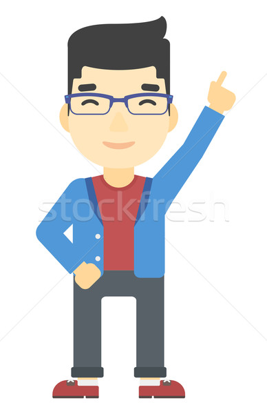 Adam işaret yukarı işaret parmağı Asya vektör Stok fotoğraf © RAStudio