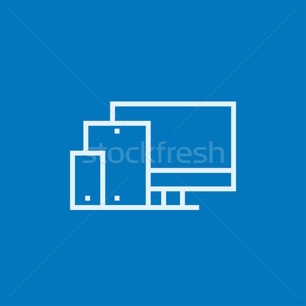 Duyarlı web tasarım hat ikon köşeler web Stok fotoğraf © RAStudio