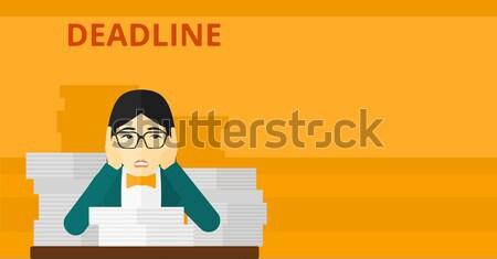 Femme problème date limite asian peur séance Photo stock © RAStudio