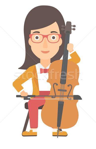 Kadın oynama viyolonsel vektör dizayn örnek Stok fotoğraf © RAStudio