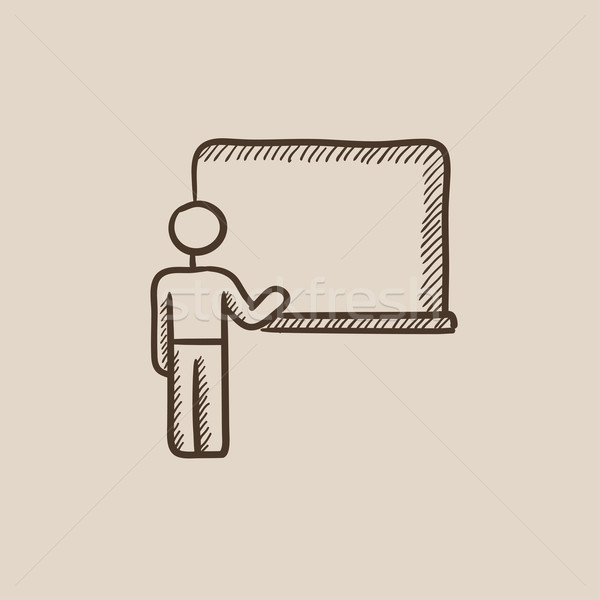 Professor pointing at blackboard sketch icon. Stock photo © RAStudio
