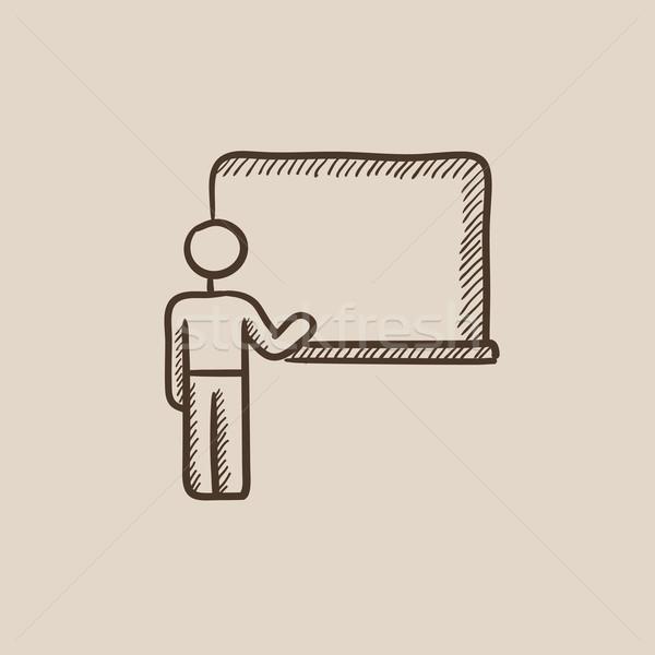 Profesor wskazując tablicy szkic ikona internetowych Zdjęcia stock © RAStudio