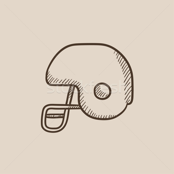 Stock photo: Hockey helmet sketch icon.