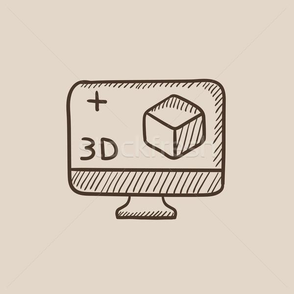 Bilgisayar monitörü 3D kutu kroki ikon web Stok fotoğraf © RAStudio
