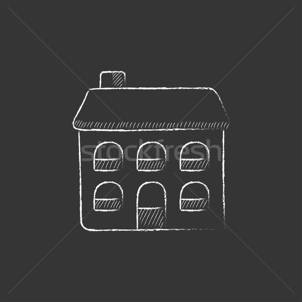 Two storey detached house. Drawn in chalk icon. Stock photo © RAStudio