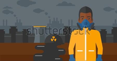 Man chemische pak giftig atmosfeer Stockfoto © RAStudio