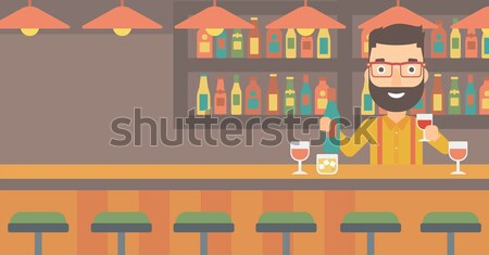 Barman permanent bar contre bouteille Photo stock © RAStudio