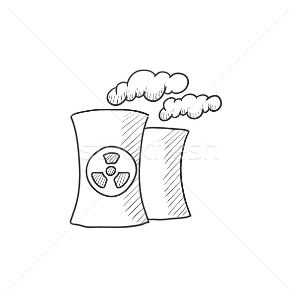 Foto stock: Nuclear · usina · esboço · ícone · vetor · isolado