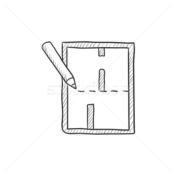Düzen ev kroki ikon vektör yalıtılmış Stok fotoğraf © RAStudio