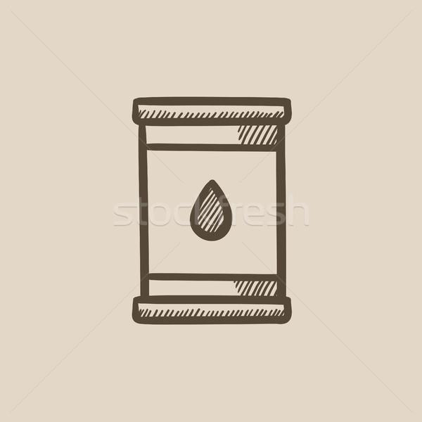 Olio barile sketch icona vettore isolato Foto d'archivio © RAStudio