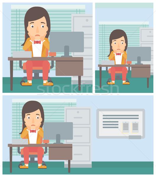 Сток-фото: устал · женщину · сидят · служба · месте · Компьютерный · монитор