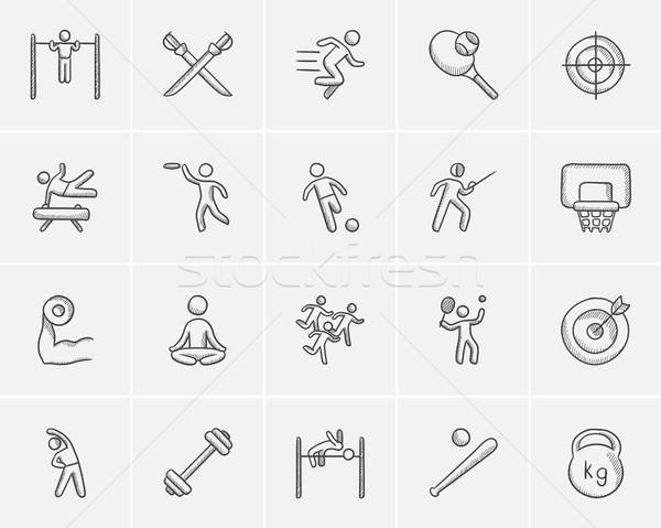ストックフォト: スポーツ · スケッチ · ウェブ · 携帯 · インフォグラフィック