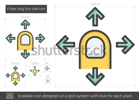Finger drag four side line icon. Stock photo © RAStudio