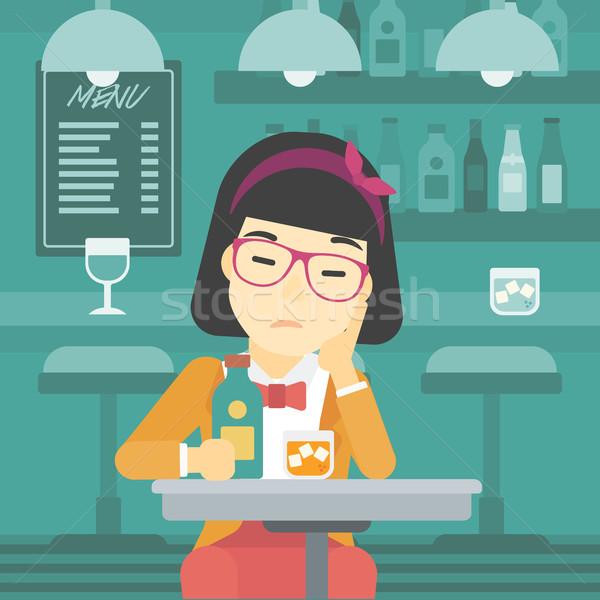 Stockfoto: Vrouw · drinken · bar · asian · triest · vergadering