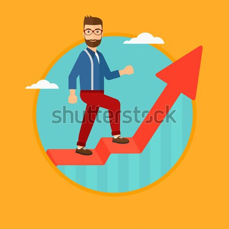 Man standing on uprising chart vector illustration Stock photo © RAStudio