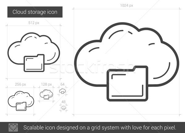 Foto stock: Nube · almacenamiento · línea · icono · vector · aislado