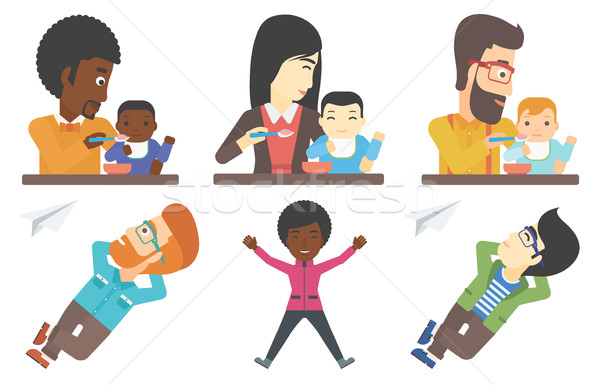 Vector set of families and business characters. Stock photo © RAStudio