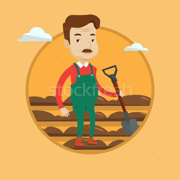 Farmer with shovel at field vector illustration. Stock photo © RAStudio