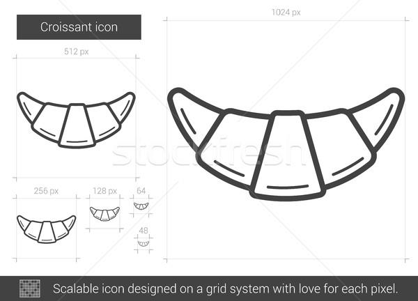 Croissant lijn icon vector geïsoleerd witte Stockfoto © RAStudio
