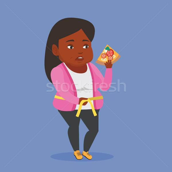 Nő mér derék kövér szelet pizza Stock fotó © RAStudio
