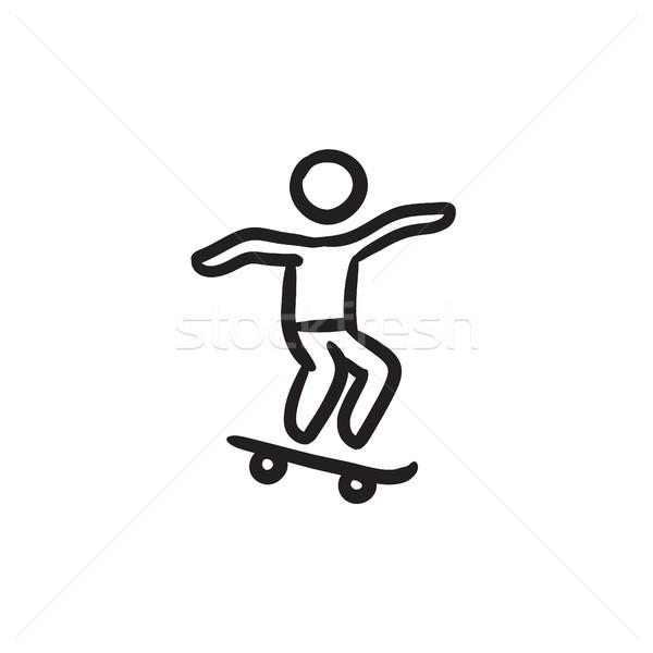 Férfi lovaglás gördeszka rajz ikon vektor Stock fotó © RAStudio