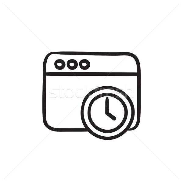 Navegador ventana reloj signo boceto icono Foto stock © RAStudio