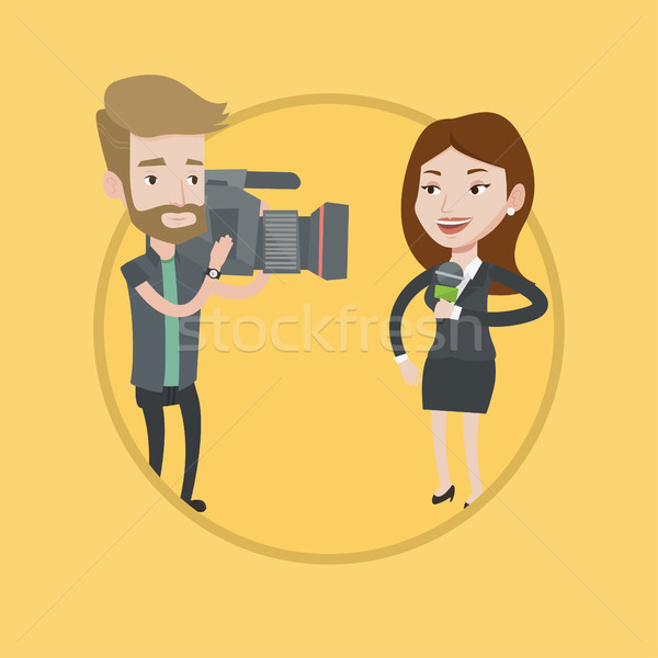 TV reporter and operator vector illustration. Stock photo © RAStudio