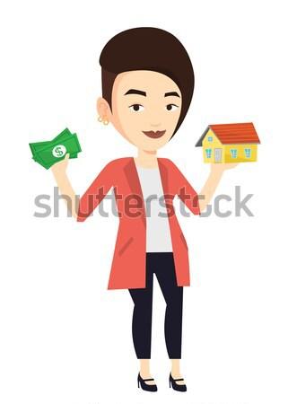 Vrouw kopen huis dank lening Stockfoto © RAStudio