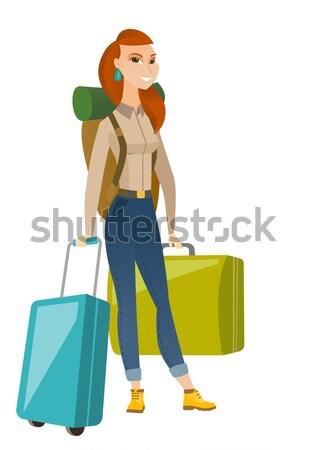 Jovem asiático mulher viajante muitos malas Foto stock © RAStudio