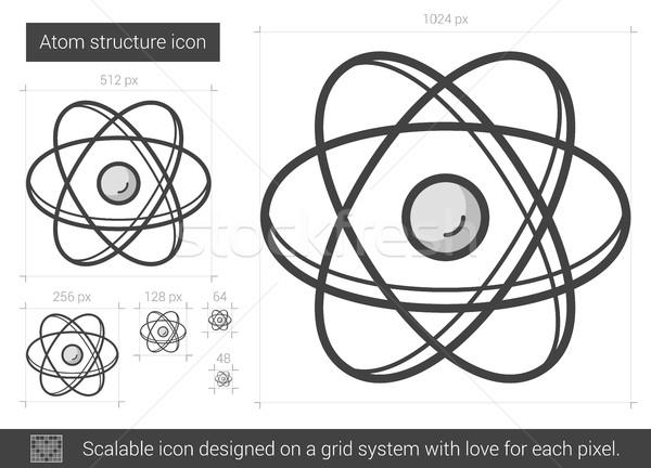 Foto stock: átomo · estrutura · linha · ícone · vetor · isolado