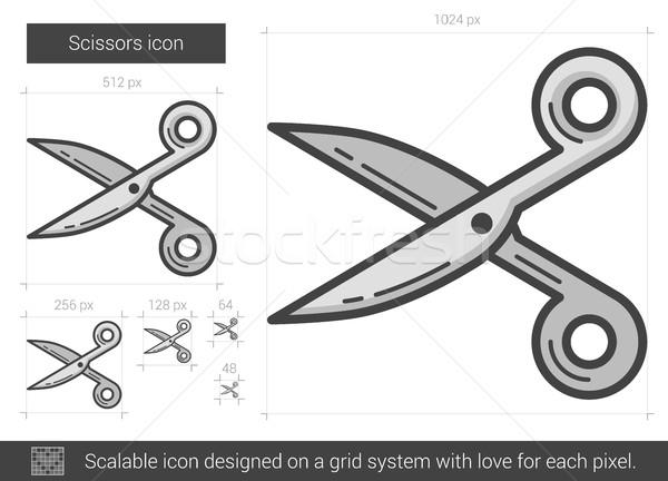 Schaar lijn icon vector geïsoleerd witte Stockfoto © RAStudio