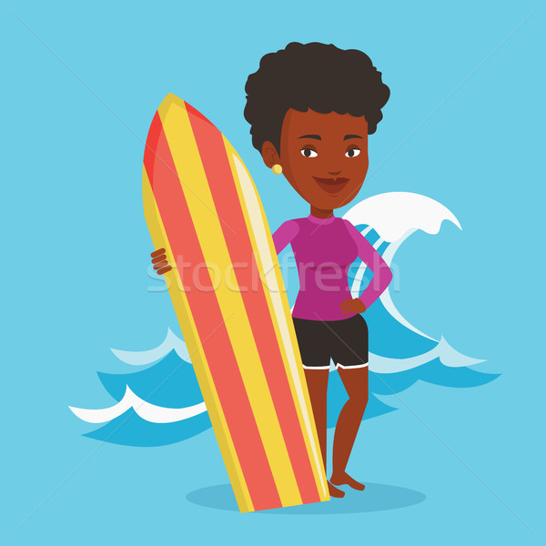 Surfer holding surfboard vector illustration. Stock photo © RAStudio