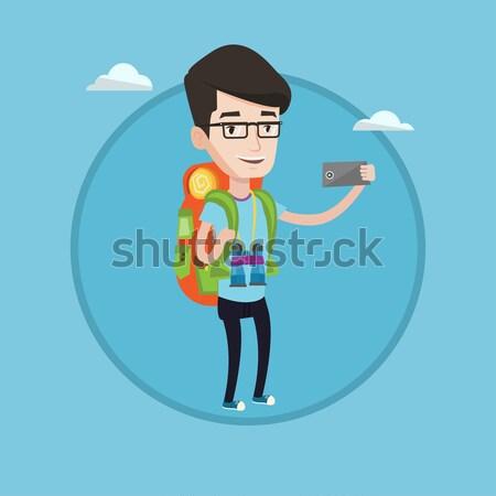 Stockfoto: Vrolijk · reiziger · rugzak · wandelen · permanente · verrekijker