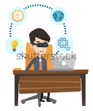 ストックフォト: ビジネスマン · ヘッド · 作業 · コンピュータ · ビジネスマン · 着用