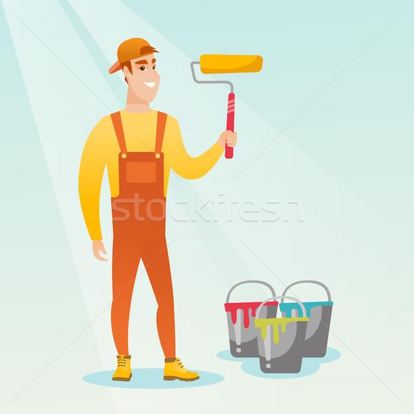 Painter holding paint roller vector illustration. Stock photo © RAStudio