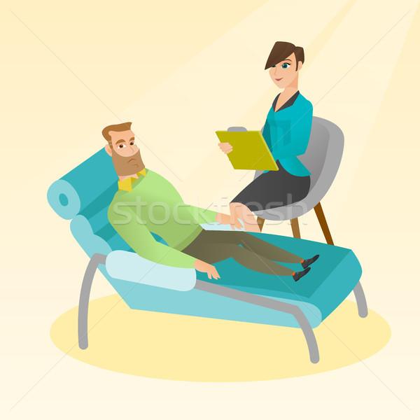 Psikolog hasta kafkas kanepe konuşma sorunları Stok fotoğraf © RAStudio