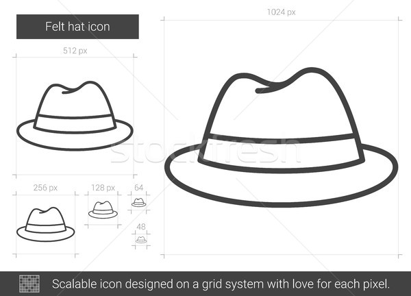 Felt hat line icon. Stock photo © RAStudio