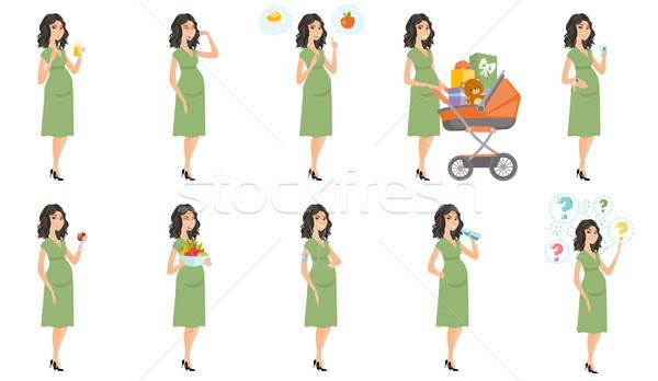 Caucasian pregnant woman vector illustrations set. Stock photo © RAStudio